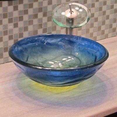 Novatto Mare Glass Vessel Bathroom Sink