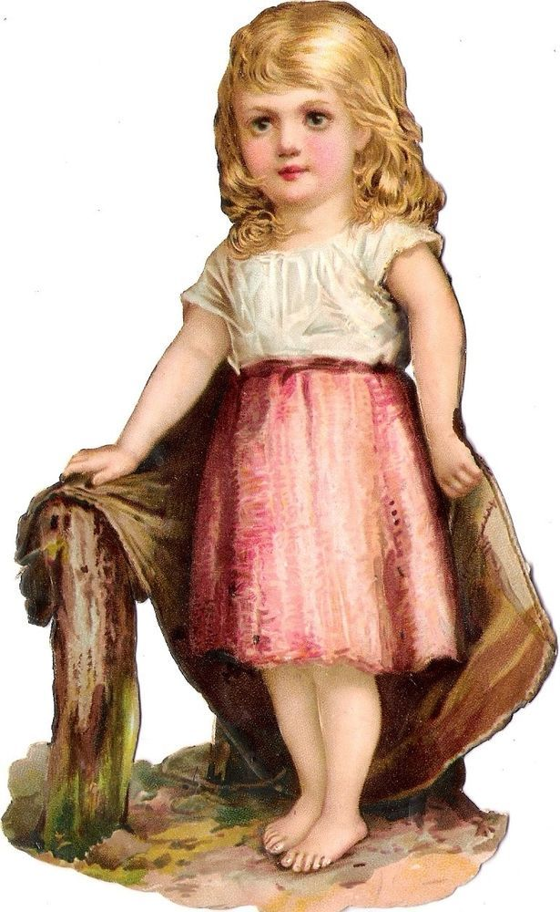 Oblaten Glanzbild scrap die cut chromo Kind child 16cm girl fille Mädchen