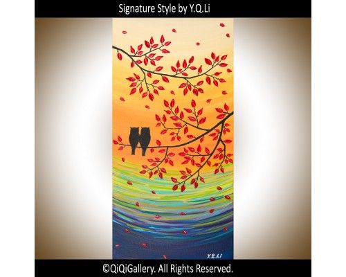 """""""Autumn"""" by QIQIGallery 12""""x24"""" Original Painting, $85.00"""