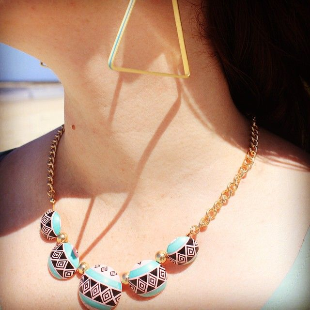 #turquoise #triangle and #gold #hoop #earrings with #colourful #aztec #necklace #befierce #standout #jewelleryofinstagram http://www.befiercestore.com/#!turquoise/c1gi7