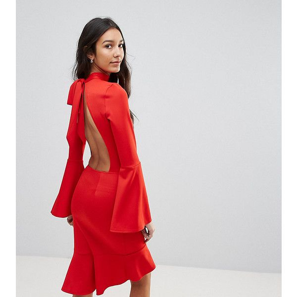 Oh My Love Tall Pephem Midi Dress With Flare Sleeve (270 HRK) ❤ liked on Polyvore featuring dresses, red, sexy red dress, red bodycon dress, peplum dress, bell sleeve dress and red peplum dress