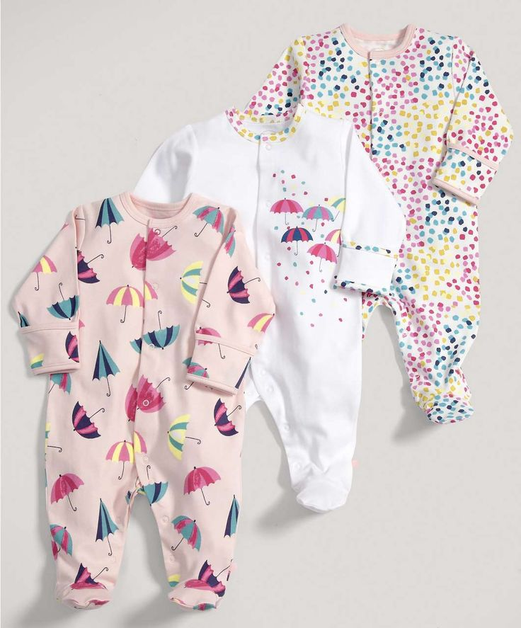 Girls Essentials Three Pack of Umbrella All in Ones - Baby Girl Essentials - Mamas & Papas