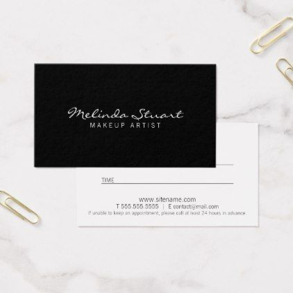 Professional Modern Black And White Appointment Business Card AppointmentsMakeup ArtistsBusiness