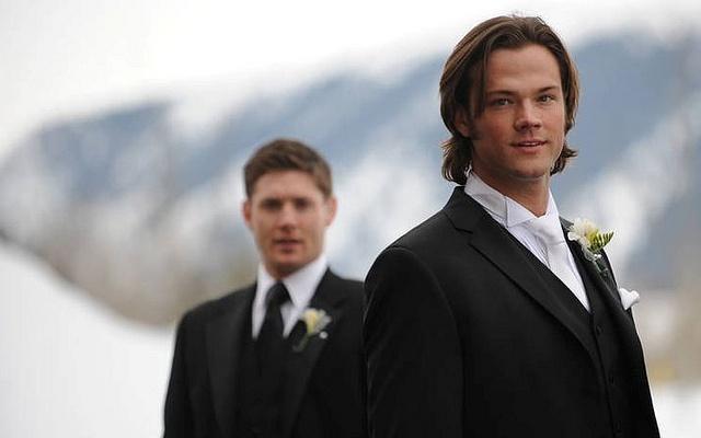 Jared Padalecki and Jensen Ackles at Jared's wedding.