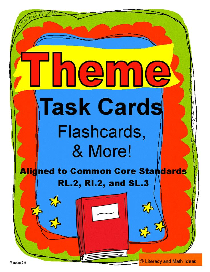 Theme task cards (differentiated), theme flashcards, theme wall charts and more in one bundle