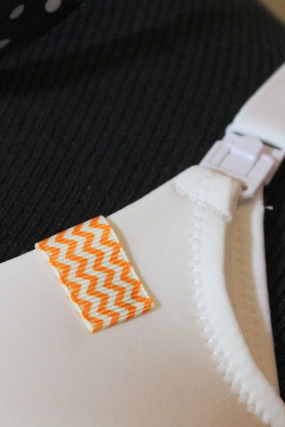 Mammary Minders Nursing Reminder in small orange chevron pattern on Etsy, $3.99