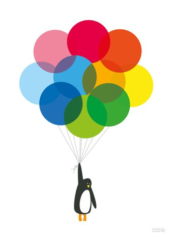 Mr Penguin and Balloons Art Print by Showler and Showler