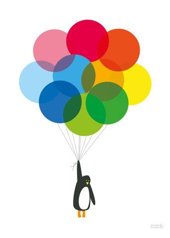 Mr Penguin Balloon Art Print