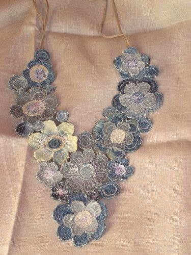 Upcycled denim necklace from Estonian blog