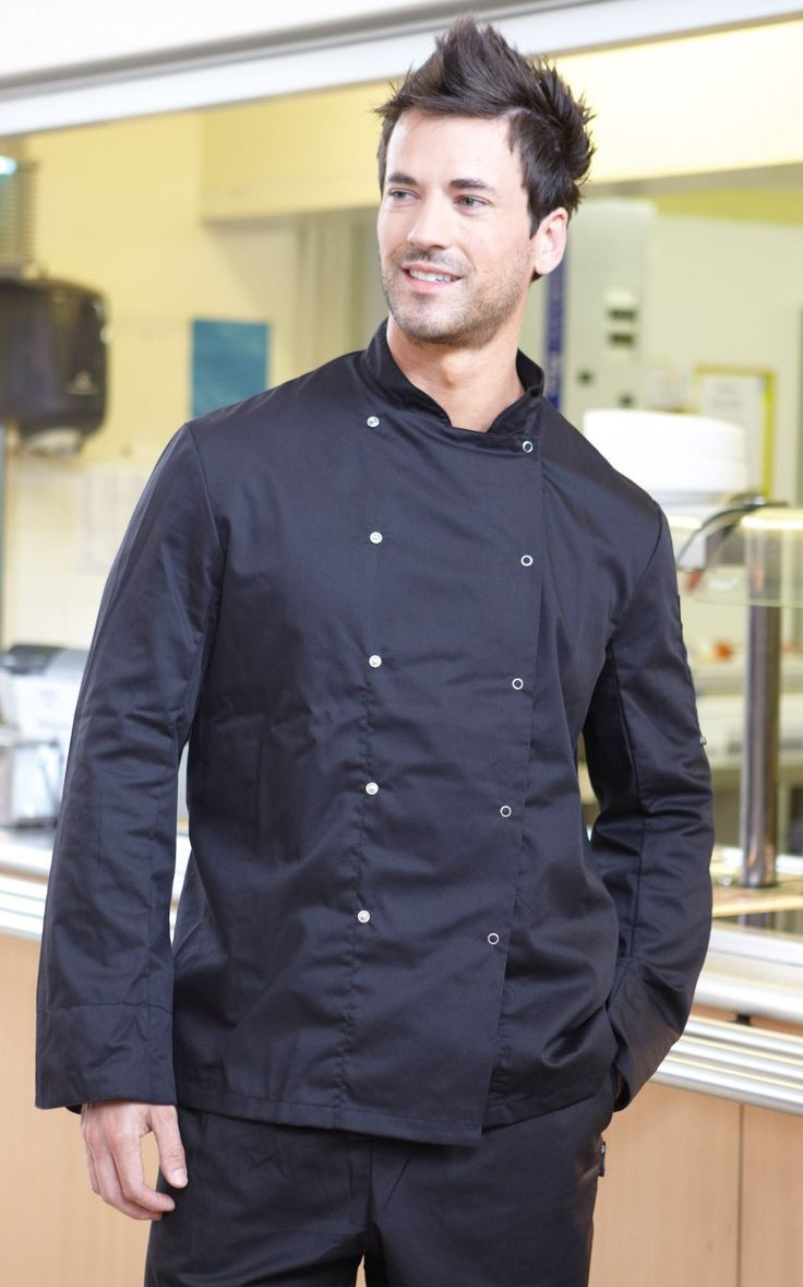 Stylish long sleeved black chefs jacket. Hey handsome whats cooking?
