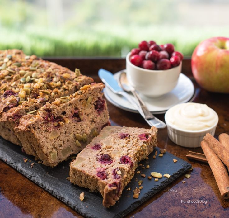 Amazingly healthy breakfast on the go! Cranberry apple gluten free vegan breakfast loaf, high in plant based protein, moist & delicious it's like having dessert for breakfast! 168 calories per slice with 7.5 g complete plant protein & only 23 g net carbs difficulty level: easy yield: 11 slices http://www.purefoodsblog.com/2016/10/12/cranberry-apple-gluten-free-breakfast-loaf/