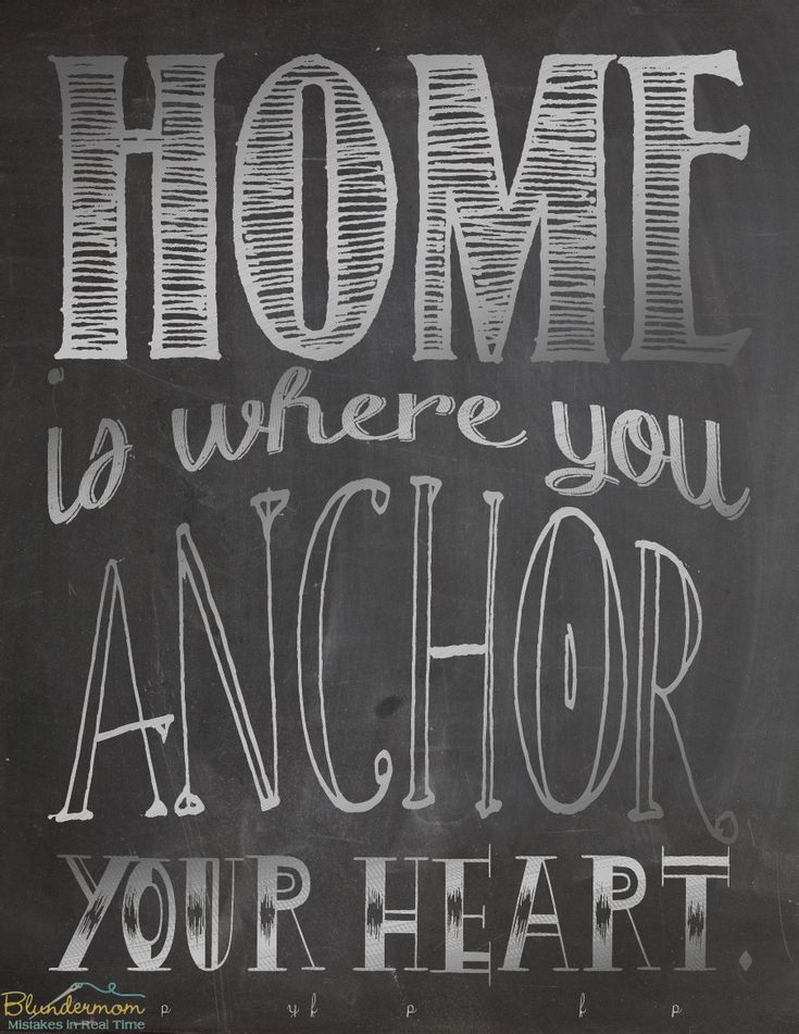 """Like"" us on facebook.com/blundermom.  ""Home is where you anchor your heart."" Free printable poster."