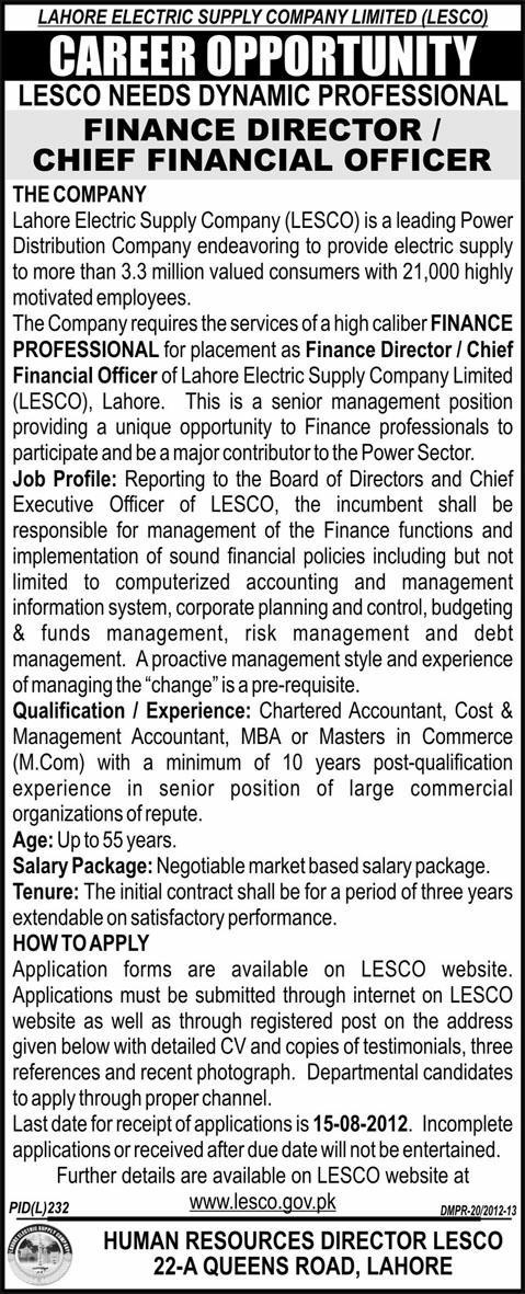 Career Oppertunity Lahore Electric Supply Company Limited(LESCO),31-07-2012