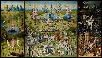 o jardim das delícias Hieronymus Bosch (1450-1516) Data1504 TécnicaÓleo sobre madeira Dimensões220 cm × 389 cm LocalizaçãoMuseu do Prado, Madrid