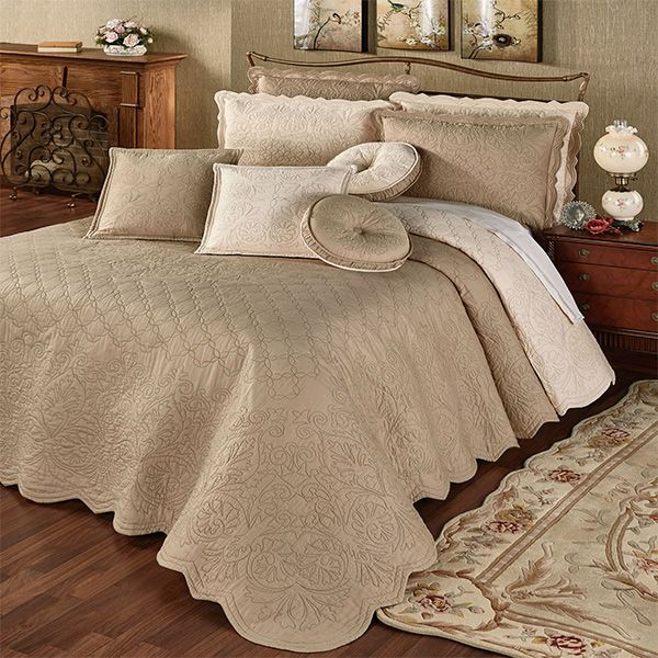 Everafter Almond Reversible Quilted Oversized Bedspread With