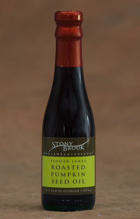 American roasted pumpkin seed oil, $12 - delicious on soups, salads, roasted vegetables, grilled fish, for dipping bread...