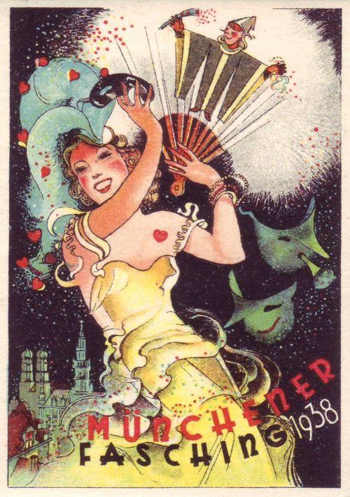 Vintage German Poster Ad 'Münchner Fasching' 1938.