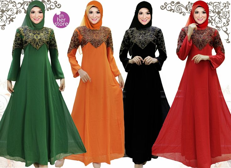 Dress Muslimah by In Her Store Indonesia - Baby Doll Series  Material : Chiffon Cerutti Size : XS - S – M – L – XL Retail Price : Rp 325 rb/pc Reseler Price : Rp 300rb/pc (min.3pcs, mix size & colours allowed) PIN : 75BD8849 Line : go2dika
