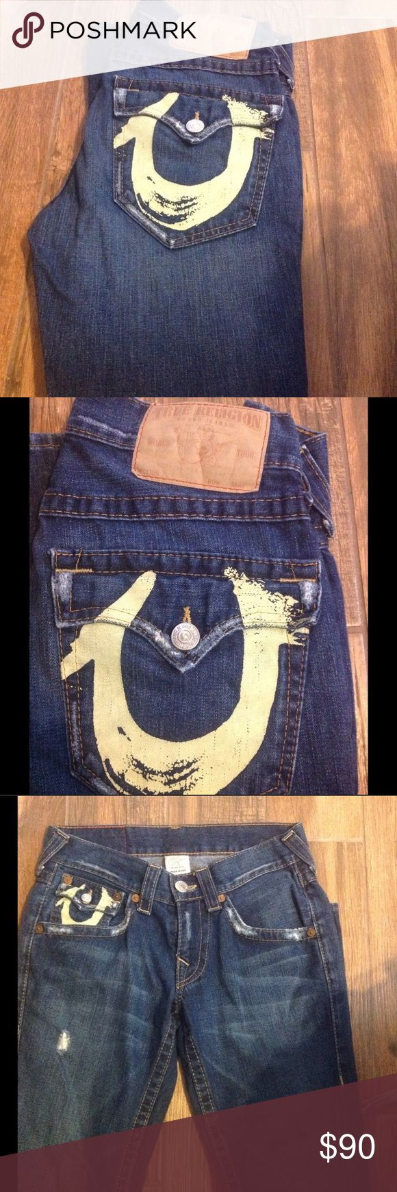 🌟True Religion Jeans🌟 Re-Posh. Unfortunately they do not fit me 😫. Love love these and the print on the back pocket. They are a small 29. I will provide measurements tomorrow. But I'd say they are closer to a 27. My loss your gain. Take advantage of my 15% bundle discount of two or more items.  Thanks for looking! Happy Poshing! True Religion Jeans Flare & Wide Leg