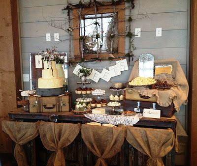 Vintage and rustic wedding or party food table layout