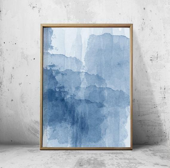 Abstrait Aquarelle Ensemble Indigo Bleu Mur Art Grand Marine