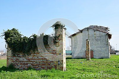 decaying walls on a field in North Italy, Veneto.
