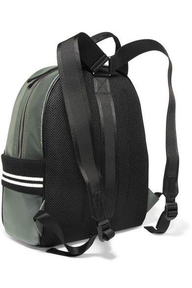 Miu Miu - Appliquéd Satin And Mesh Backpack - Army green - one size