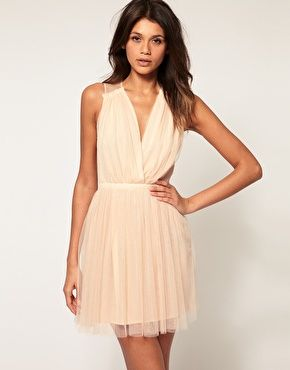 ASOS Party Dress in Mesh, $98.48. Comes in champagne and black/purple.