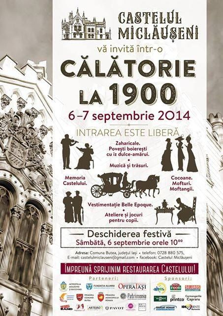 """Pe 6 şi 7 septembrie, la castelul de la Miclăuşeni va fi organizat evenimentul """"Călătorie la 1900″, menit să strângă fonduri şi susţinători pentru restaurarea castelului. Vineri, 6 septembrie şi duminică, 7 septembrie 2014, romaşcanii au posibilitatea de a da timpul înapoi, printr-o călătorie la castelul de la Miclăuşeni, la..."""