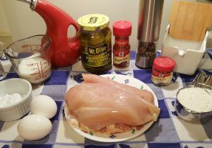 Cast of Ingredients for Air Fryer Chick-fil-A Chicken Sandwich Image