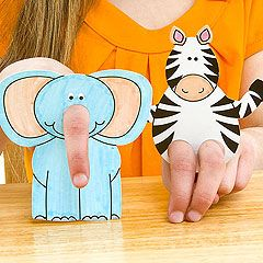 Make a whole zoo! Get creative with these elephant and zebra cut-out finger puppets. Kidfolio - the app for parents - kidfol.io