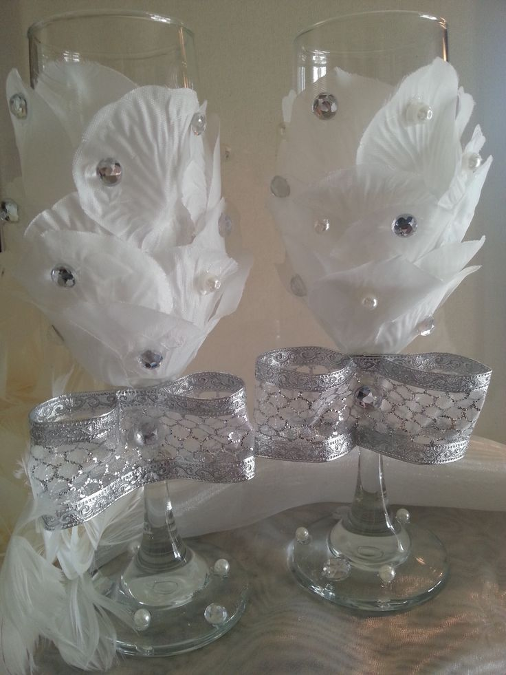 Wedding Toasting Glasses Roses & Rhinestones