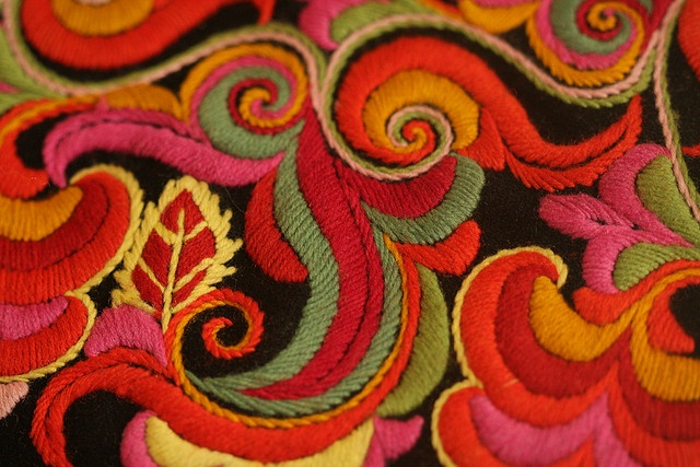 National costumes' embroideries from Telemark, Norway