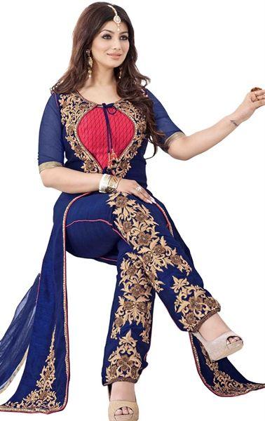 Picture of Smashing Navy Blue Designer Bollywood Salwar kameez