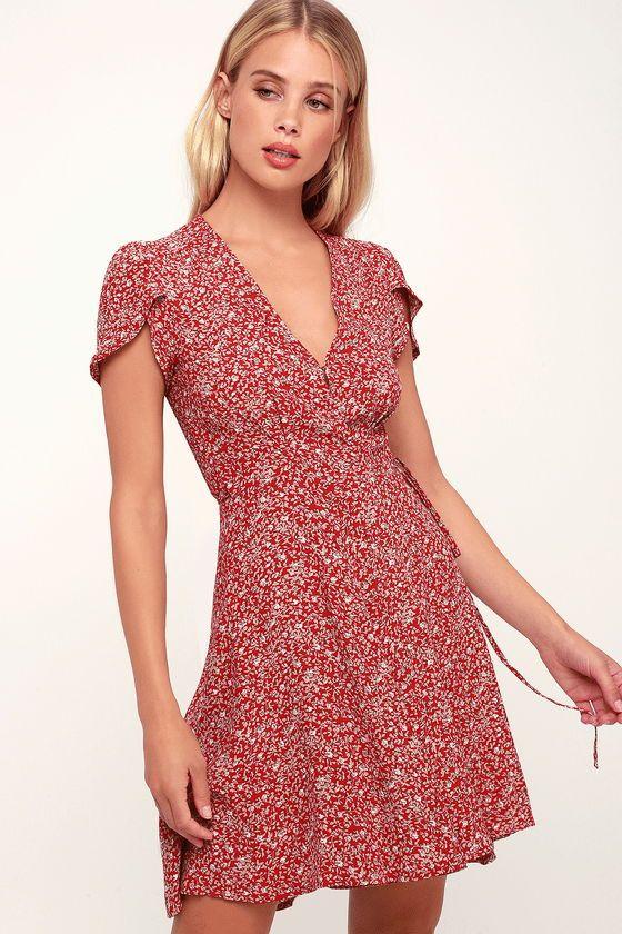 5a2828d34ab8 DANCER RED FLORAL PRINT SHORT SLEEVE WRAP DRESS #cuteoutfits #fashion #dress