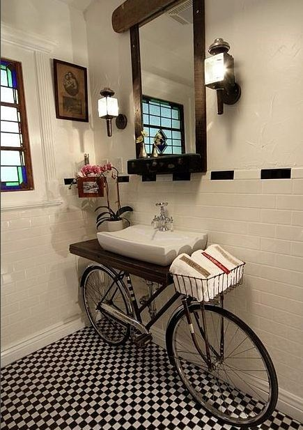 Cute French Bathroom #checker #tile #bicycle