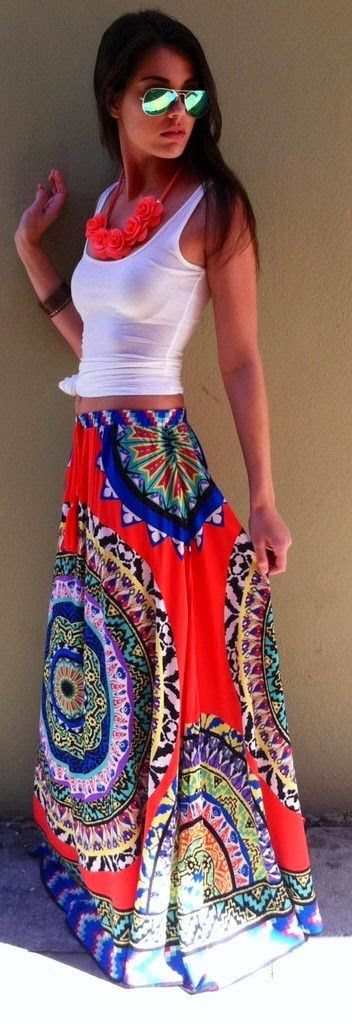 Lovely white tank and long maxi skirt
