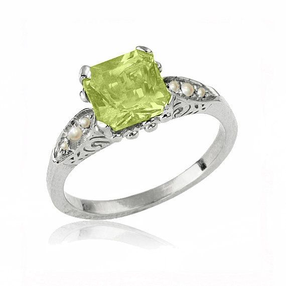 Art Deco Peridot Engagement Ring with Wheat Scrolls by netawolpe