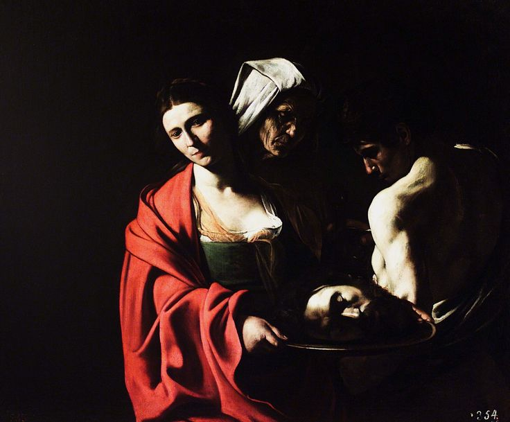 Salome with the Head of John the Baptist, 1609 Caravaggio.  Madrid, Spain;  Royal Palace of Madrid.
