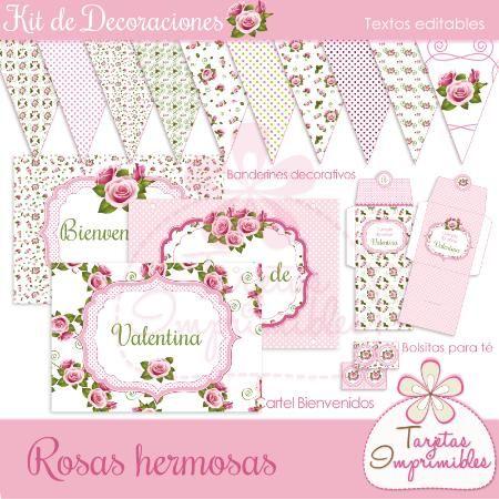 Decoraciones imprimibles para cumpleaños, Shabby chic rosa y blanco
