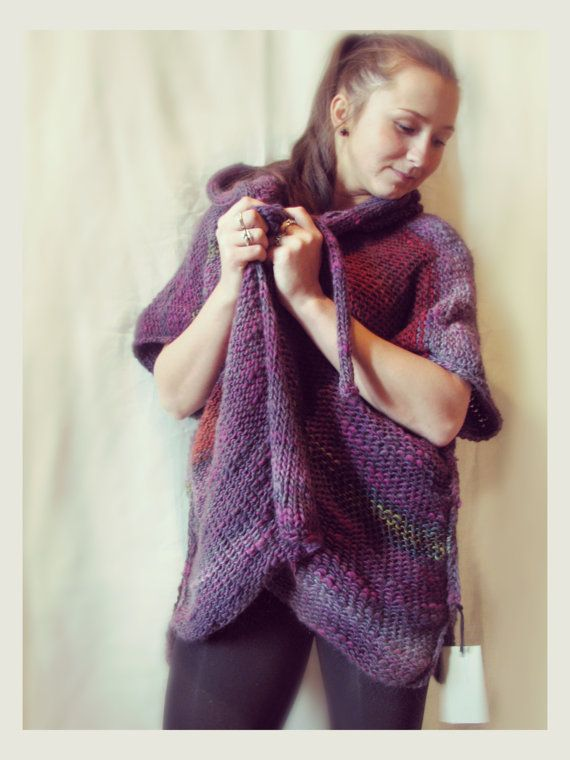 Purple merino wool poncho / cape with hood by Rewella on Etsy