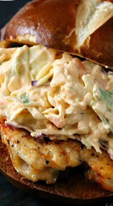 Buffalo Ranch Cole Slaw Topped Chicken Sandwich