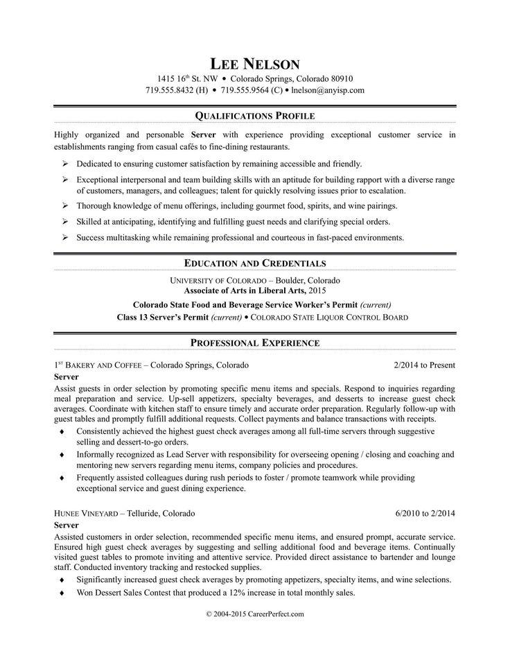 sample resume restaurant server Restaurant resume