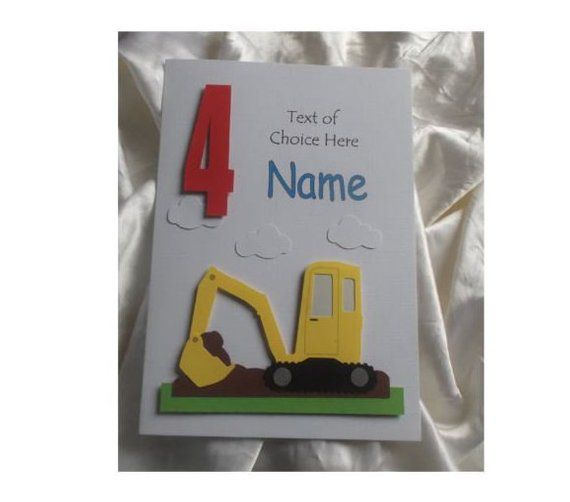 Personalised 1st 2nd Any Age Digger Birthday Card Son Etsy Digger Birthday Birthday Cards Kids Cards