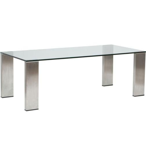 Tables – Parker Dining Table I High Fashion Home – glass and steel dining table, stainless steel and glass dining table, modern glass topped…I want