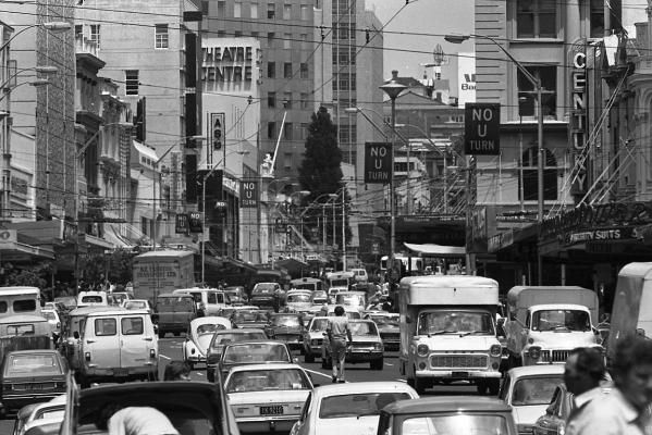Old Auckland City..looks rather chaotic..traffic looks bit like here in Indonesia!