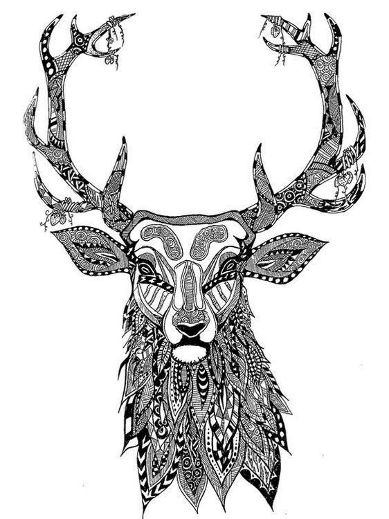 head of a dear mandala coloring page
