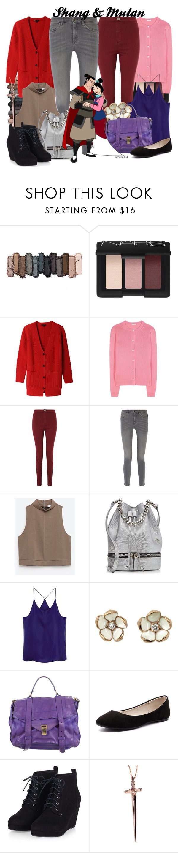 """Shang & Mulan"" by amarie104 ❤ liked on Polyvore featuring Urban Decay, NARS Cosmetics, Maje, Miu Miu, Miss Selfridge, M.i.h Jeans, Zara, MANU Atelier, Shaun Leane and Proenza Schouler"