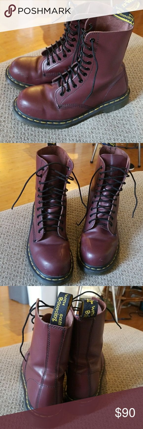 DR. MARTENS maroon 1919 boots. mens 8, womens 9 Great used condition. Not even close to being broken in yet, but they do have a few scuffs, pictured. Steel toed so they are nice and heavy, and can be worn safely as work boots. Dr. Martens Shoes Combat & Moto Boots