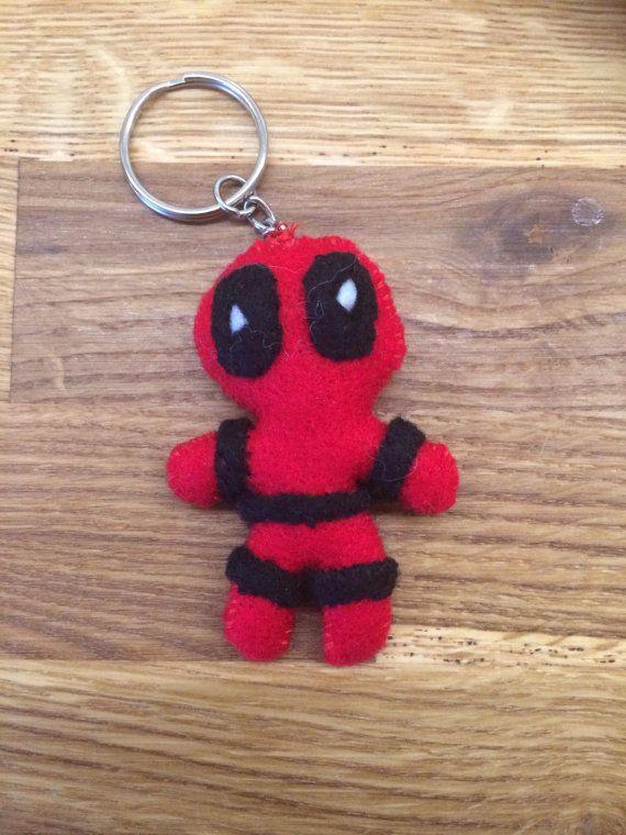 Cute Deadpool Keychain Handmade Felt Marvel by ZomBeasBoutique